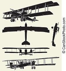 antigüedad, militar, propulsor, biplanos