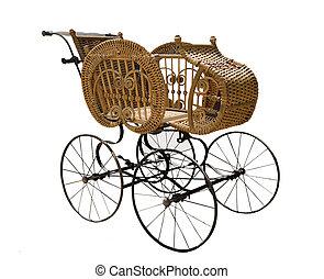 antigüedad, mimbre, carruaje, bebé