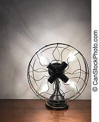 antigüedad, mirar, lámparade mesa, ventilador