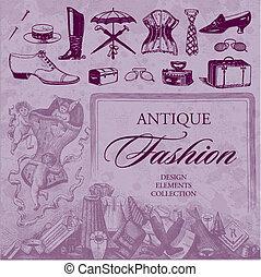 antigüedad, moda, conjunto, (vector)