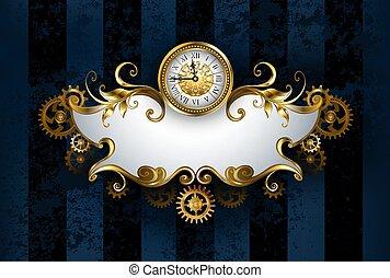 antigüedad, modelado, bandera, relojes