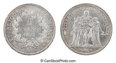 antigüedad, moneda, 1873, francés