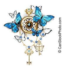 antigüedad, morpho, reloj, mariposas