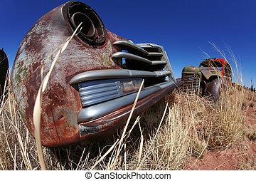 antigüedad, norteamericano, coches, aire libre