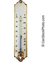 antigüedad, oxidado, blanco, aislado, termómetro