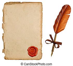 antigüedad, papel, hoja, con, sello, y, vendimia, pluma de tinta