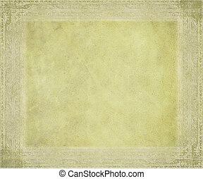 antigüedad, pergamino, con, graba relieve, marco