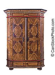 antigüedad, pintado, guardarropa, de madera