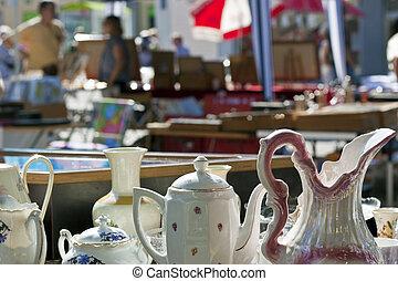 antigüedad, porcelana, mercado
