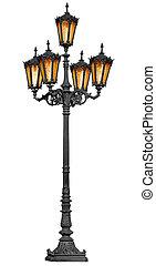 antigüedad, poste, lámpara, blanco
