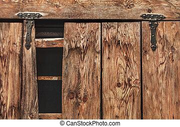 antigüedad, puerta, bisagras, -, detalle, pino, rústico,...