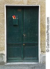 antigüedad, puerta, madera, verde