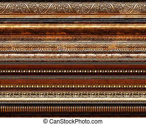 antigüedad, rústico, decorativo, marco, patrones