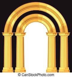 antigüedad, realista, dórico, griego, arco, columnas