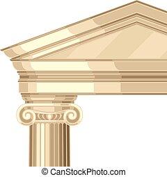 antigüedad, realista, griego, iónico, templo, columnas