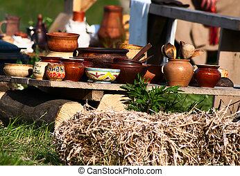 antigüedad, refectorio, medieval, platos, tabla