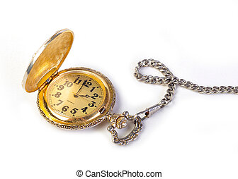 antigüedad, reloj de bolsillo de oro