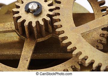 antigüedad, reloj, engranajes, macro