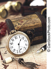 antigüedad, retro, bolsillo, reloj, y, decoración, objetos