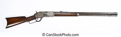 antigüedad, rifle., palanca, acción