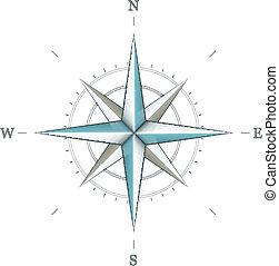 antigüedad, rosa, símbolo, navegación, viento