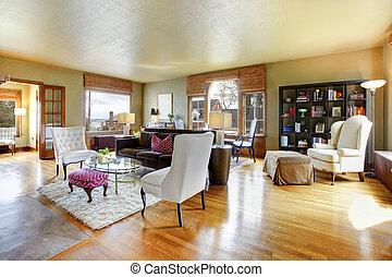 antigüedad, sala, oro, grande, interior.
