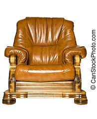 antigüedad, sillón cuero, aislado