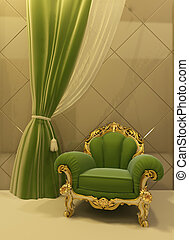 antigüedad, sillón, interior, lujoso