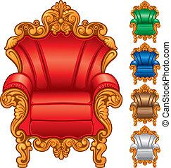 antigüedad, sillón, viejo