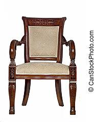 antigüedad, sillón, vista delantera