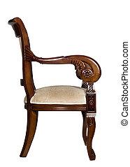 antigüedad, sillón, vista lateral