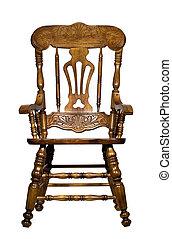 antigüedad, silla de madera, vista delantera
