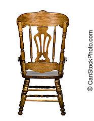 antigüedad, silla de madera, vista trasera