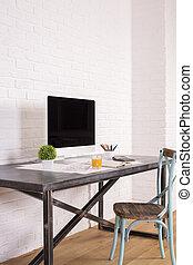 antigüedad, silla, en el escritorio, lado