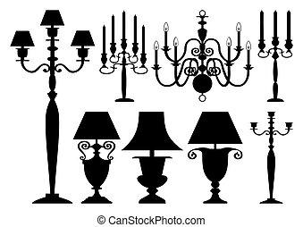 antigüedad, siluetas, conjunto, iluminación