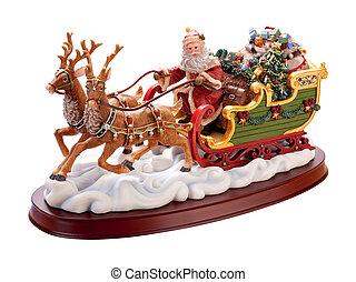 antigüedad, sleigh, santa