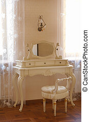 antigüedad, tabla, aliño, espejo