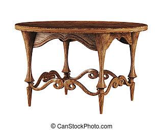 antigüedad, tabla, redondo, 3d