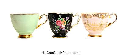 antigüedad, teacups, fila