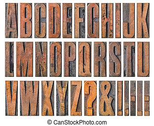 antigüedad, texto impreso, madera, tipo, imprimir bloquea, -, alfabeto