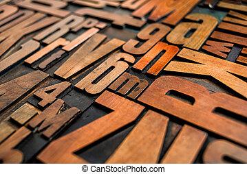 antigüedad, texto impreso, madera, tipo, imprimir bloquea