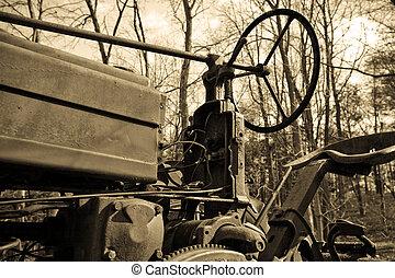 antigüedad, tractor, en, sepia