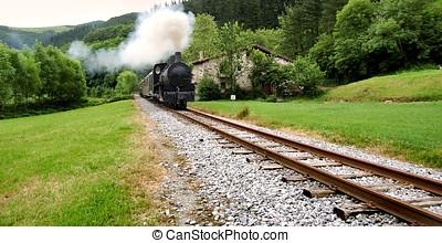 antigüedad, tren, cruce, un, antiguo, estación