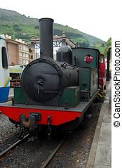 antigüedad, tren, estacionado, en, un, estación