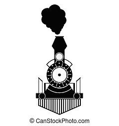 antigüedad, tren, negro, vector