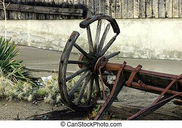 antigüedad, vagón, viejo, roto, y, rueda