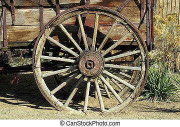 antigüedad, vagón, viejo, rueda
