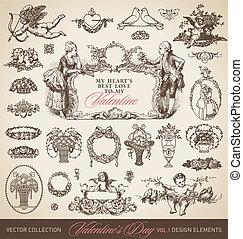 antigüedad, valentines, conjunto, (vector)