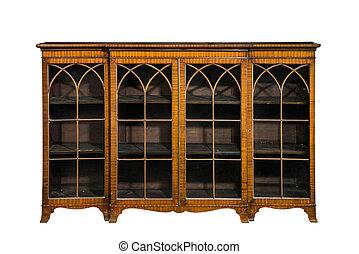 antigüedad, vendimia, aislado, gabinete, vidrio, armariopara libros, puertas