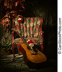 antigüedad, vendimia, contra, guitarra, propensión, acústico...